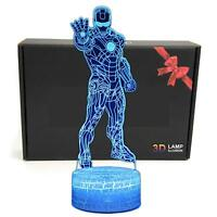 LED Superhero 3D Optical Illusion Lamp USB Remote Night Light Kids Cartoon Gifts