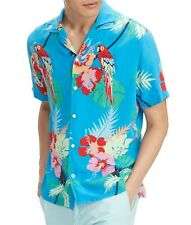 NWT Men's Tommy Hilfiger Button Front Tropical Parrot Print Short Sleeve Shirt