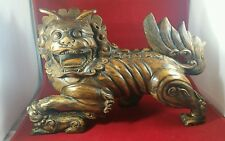 "VINTAGE CHINESE HANDCARVED WOODEN STATUE, FOO DOG/LION, AMAZING DETAIL 14"" VGC"