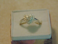Diamond Heart Ring sz 7 .925 Sterling Silver.  5400