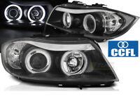 Coppia di Fari Lenticolari Anteriori per BMW E90 E91 2005-2008 Angel Eyes CCFL N