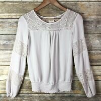 Knox Rose Women's Extra Small XS Rayon Ivory Long Sleeve Lace Peasant Blouse