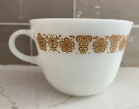 Vintage Pyrex Butterfly Gold Coffee Tea Cup Handle Milk Glass Durable