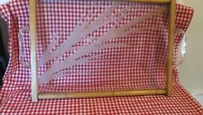 "Vintage Asian Bamboo Tray Etched Glass Lucite Handles 18 1/2"" x 13 1/2"" Beauty"