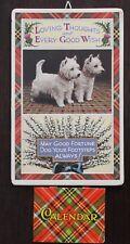 Vintage 1985 White Scottie Westie Terriers Wall Calendar Greeting Card Scotland