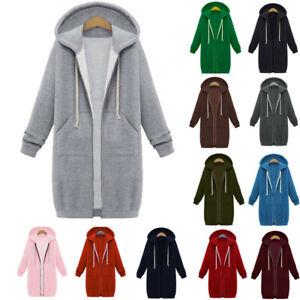 UK Womens Long Sleeve Zip Up Hooded Jacket Ladies Jumper Hoodie Cardigan Coat