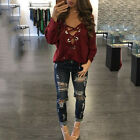 Women Plung V Neck Lace Up T-Shirt Long Sleeve Blouse Casual Loose Tee Shirt Top