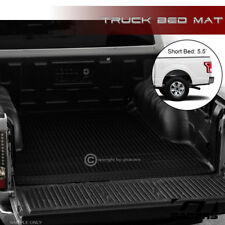 "FOR 2015-2018 F150 5.5 FT 66"" SHORT BLACK RUBBER DIAMOND TRUCK BED RUG FLOOR MAT"