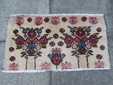 Old Traditional Hand Made Persian Rugs Oriental Wool Cream Pink Small Rug 46x80m