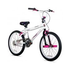 "20"" Girl's BMX Freestyle Stunt Bicycle White Black Pink Teen Girls Bike Pegs"