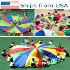 Parachute Outdoor Game Exercise Sport 8 Handles Kids Play Rainbow Parachute USA