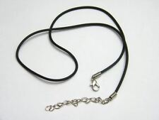BLACK SMOOTH RUBBER CORD NECKLACE WITH EXTENSION CHAIN