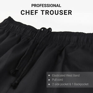 PROFESSIONAL CHEF TROUSER BLACK PULL CORD ELASTICATED CHEF PANT UK