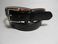"Men Leather Belt Black with Silver Buckle L 38 - 40"" #9008B"