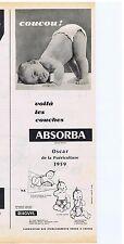 PUBLICITE ADVERTISING 114 1959 Voila les couches ABSORBA Oscar puériculture 1959