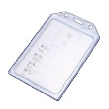 PVC Vertical Name Tag ID Work Exhibition Badge Card Holder Clear Blue L7D6