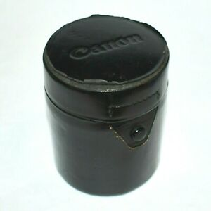 """Vintage Canon Hard Lens Case 4"""" tall x 3""""dia Genuine Canon Leather Tube Cover"""