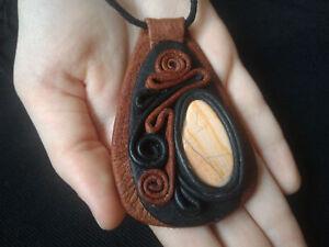 Natural Stone Pendant Leather Crystal Handmade
