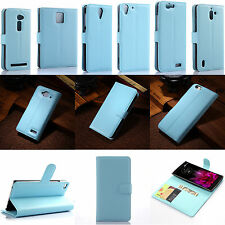 New Blue Luxury Flip PU Leather Card Slot Case Magnetic Stand Cover Book Wallet