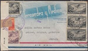 1931-H-91 ANT. 1931. AIR COVER WWII BILBAO CENSORSHIP POSTMARK TO ASTURIAS.