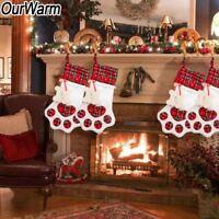 Pet Christmas Stocking Dog Paw Plaid Stocking Gift Bag Candy Bags Holiday Decor