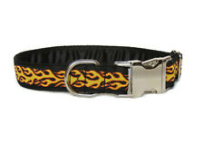 Clip dog collar 1 inch metal clip. Side release. Flames