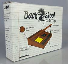 Back 2 Skool Desk Tidy Novelty Gift Desktop Stationery Retro Wooden Storage New
