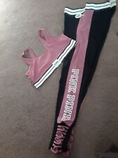 VictoriaSecret Pink Soft Begonia Color block Elastic Waist Leggings &Bralette