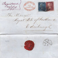 1878 QV MANCHESTER WRAPPER WITH A 1d RED & 2d BLUE STAMP TO BANK OF SCOTLAND