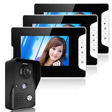 videocitofono casa campanello interfono 3 monitor tft lcd 7 pollici waterproof