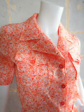 Ensemble Vintage Jupe et Chemisier Fleurs Style Liberty Orange