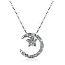 Women's 925 Sterling Silver CZ Cubic Zirconia Star Moon Couple Pendant Necklace