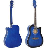 41in Full Size Beginner Acoustic Cutaway Guitar Tuner Sunburst Strap w/Case Blue