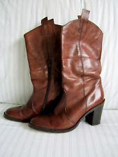 LADIES REAL LEATHER WEDGES LONG BOOTS MID CALF HIGH HEEL SIZE 5 TAN BROWN SHOES