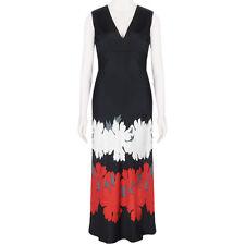 Alexander McQueen Black White Red Lotus Flower Full-Length Silk Dress IT42 UK10