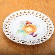Occupied Japan Reticulated Plates Lattice Edged Rosetti Chicago Fruit Pattern