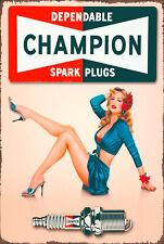 Champion dependable spark plug pin up brand new tin metal sign MAN CAVE