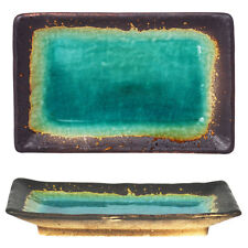 """Japanese 8.5"""" x 5.5"""" Ceramic Sushi Serving Plate Green Turquoise Rust Crackle"""