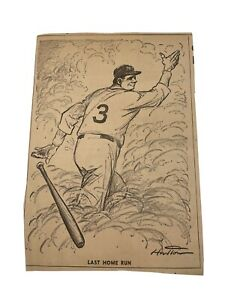 Vintage Babe Ruth Newspaper Clipping Cartoon The Last Homer