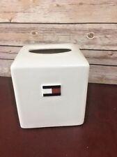 Vtg 1998 Tommy Hilfiger Ceramic Kleenex Tissue Cover Box Flag Block Logo Crest