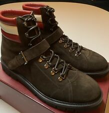 $1,200 Bally Champions Brown Suede Hiker Boots Size US 12 Made in Switzerland