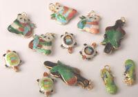 Cloisonne Enamel Mixed Charms Beads Pendants PANDA OVAL PEACOCK TURTLE etc