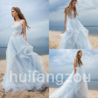 Blue Wedding Dresses Bridal Gown Size 4 8 12 16 18 20 Plus Rhinestone Belt