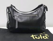 Tula Radley Black Leather Handbag Bag Grab Stud VGC
