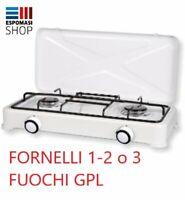 FORNELLO GAS GPL FORNELLINO DA CAMPEGGIO CUCINA PORTATILE 1 2 3 FUOCHI COPERCHIO