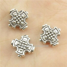 16832*30PCS Antique Silver Vintage Cross 12mm Spacer Beads Charm Alloy