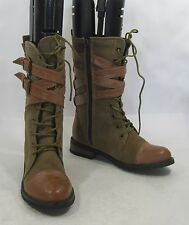 New Brown Lace Rugged Military Combat sexy ankle  boots  size  6