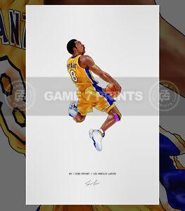 Kobe Bryant #8 Los Angeles Lakers Basketball Illustrated Print Poster Art