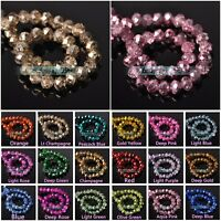 Plated Crystal Glass Rondelle Faceted Loose Spacer Beads lot 4mm 6mm 8mm 10mm