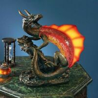 "Serpent Dragon Desk Lamp Mosaic Glass LED Illuminated 12"" Sculpture"